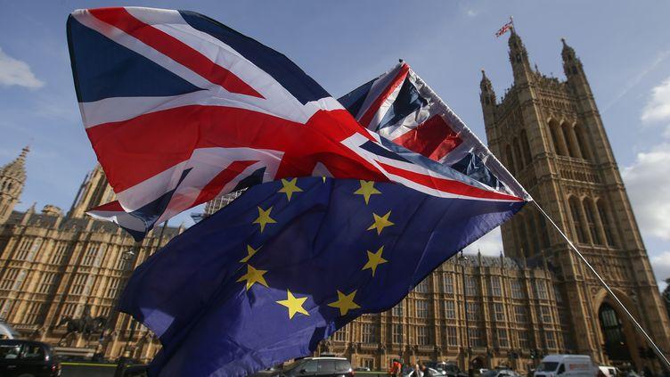 Des drapeaux britannique et européen installés par des militants opposés au Brexit devant le palais de Westminster, à Londres,en octobre 2017. (DANIEL LEAL-OLIVAS / AFP)