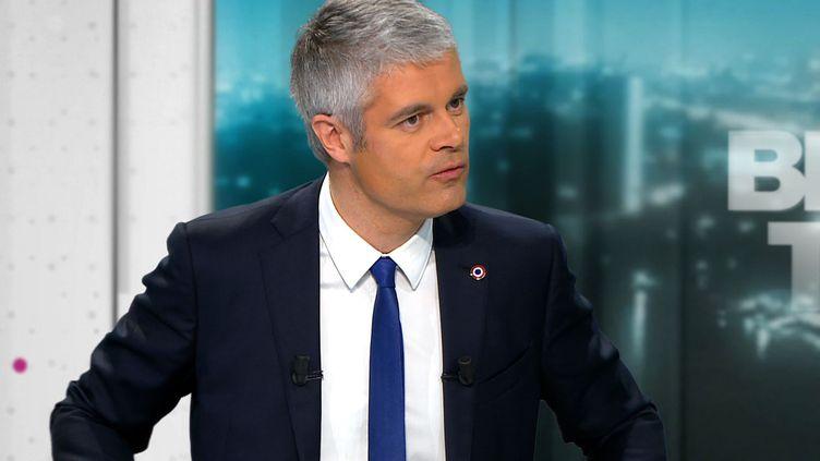 Laurent Wauquiez, le président du parti Les Républicains, sur le plateau de BFM TV, le 20 février 2018. (AFP)