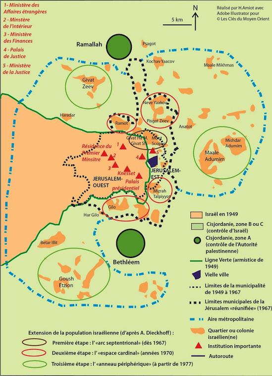 Carte de Jérusalem. Réalisée pour le siteLes Clefs du Moyen-Orient, cette carte montre les différentes frontières liées à la récente histoire. (Les Clefs du Moyen-Orient)