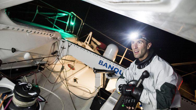 Le skipper Armel Le Cléac'h à bord de son bateau Banque populaire, le 19 septembre 2016. (V. CURUTCHET / BPCE)