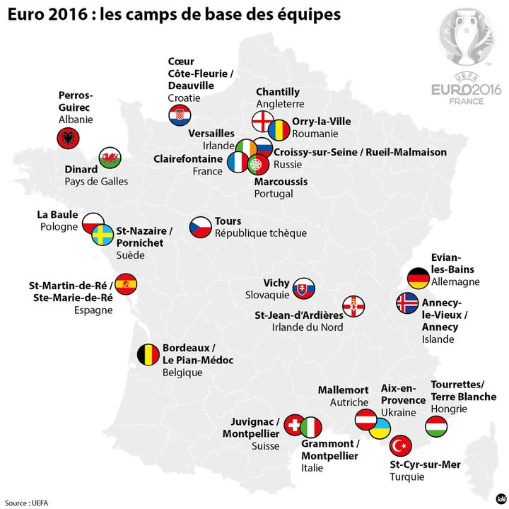 (Euro 2016, les camps de base des équipes © idé)