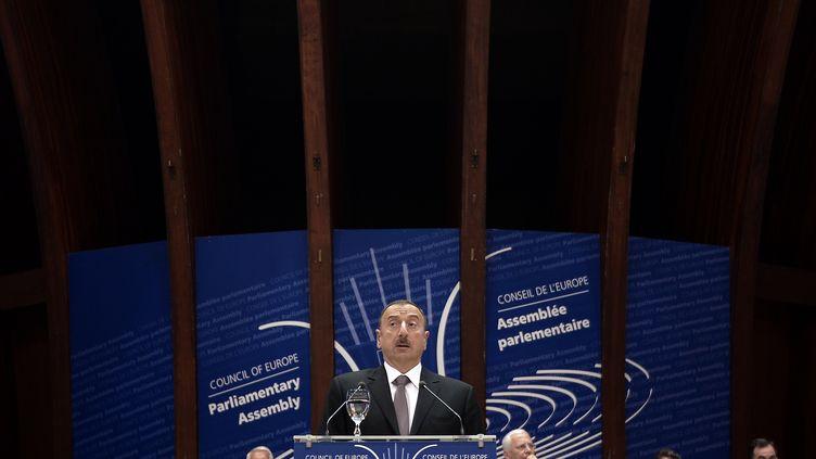 Le président de l'Azerbaïdjan,Ilham Aliyev, s'exprime devant le Conseil de l'Europe à Strabsourg (Bas-Rhin), le 24 juin 2014. (FREDERICK FLORIN / AFP)