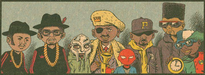 """""""Les costumes flashy"""" du rap, de Run D.M.C. à MF Doom, Slick Rick et Public Enemy.  (Ed Piskor)"""