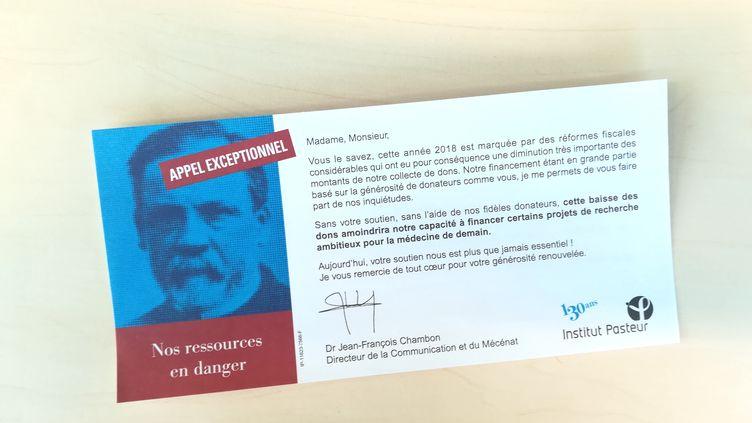 Un appel envoyé par l'Institut Pasteur à ses donateurs, en septembre 2018. (INSTITUT PASTEUR / FRANCEINFO)