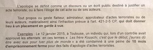 Extrait de la note interne diffusée par la préfecture de police de Paris aux officiers de police judiciaire début janvier 2015. (PREFECTURE DE POLICE DE PARIS)