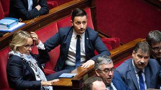"""Le député Les Républicains Maxime Minot (au centre), surnommé """"Monsieur PMA"""", sur les bancs de l'Assemblée nationale, le 24 octobre 2018. (MAXPPP)"""