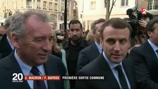 Emmanuel Macron et François Bayrou font leur première apparition commune à Reims