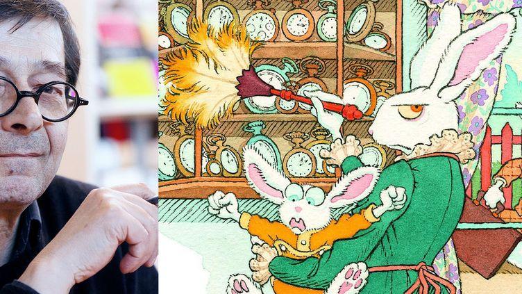 """Gilles Bachelet au Salon du livre et de la presse jeunesse de Seine-Saint-Denis en novembre 2011 avec un détail de la couverture de """"Madame le lapin blanc"""" (Seuil Jeunesse), Pépite du meilleur album jeunesse en 2012 (Thesupermat  / WIKIMEDIA COMMONS)"""