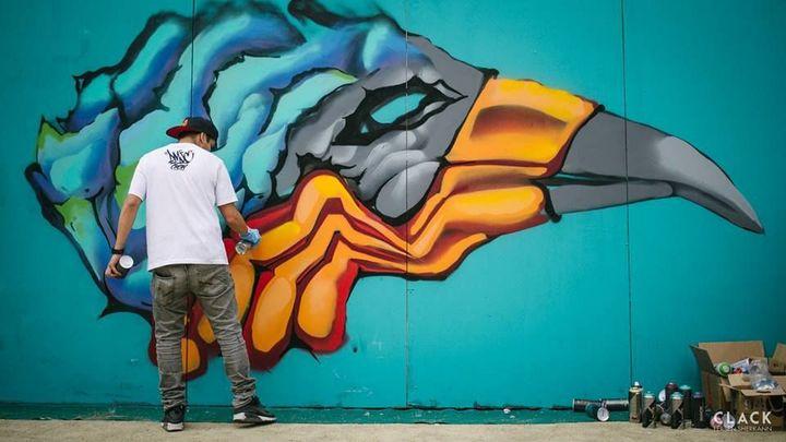 Un graffeur à Nantes pour Rendez-Vous Hip Hop 2017.  (Fersen Sherkann)