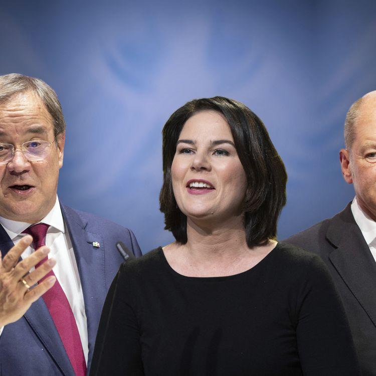De gauche à droite, les trois principaux candidats à la chancellerie allemande pour les élections fédérales du 26 septembre 2021, Armin Laschet, Annalena Baerbock et Olaf Scholz. (MALTE OSSOWSKI / SVEN SIMON / AFP)