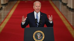 Le président américain Joe Biden, prononce un discours sur la fin de la guerre en Afghanistan depuis la Maison blanche, à Washington DC, le 31 août 2021. (BRENDAN SMIALOWSKI / AFP)