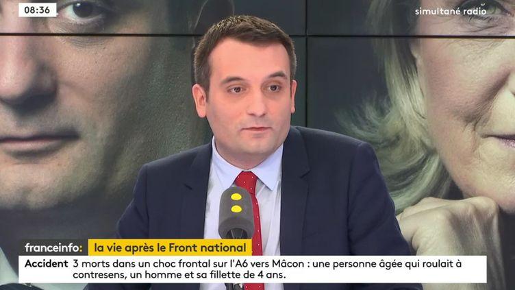 Florian Philippot, président du mouvement Les Patriotes, invité de franceinfo le 27 décembre 2017. (RADIO FRANCE)