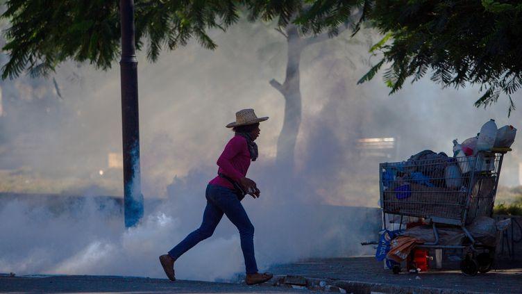 Des affrontements entre la police et des manifestants ont eu lieu près du Palais présidentielàPort -au-Prince, capitale d'Haïti(08 février 2021). (JEAN MARC HERVE ABELARD / EFE)