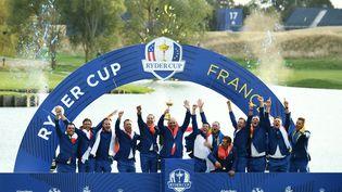Les golfeurs européens, vainqueurs de la dernière Ryder Cup en septembre 2018, à Saint-Quentin-en-Yvelines. (FRANCK FIFE / AFP)