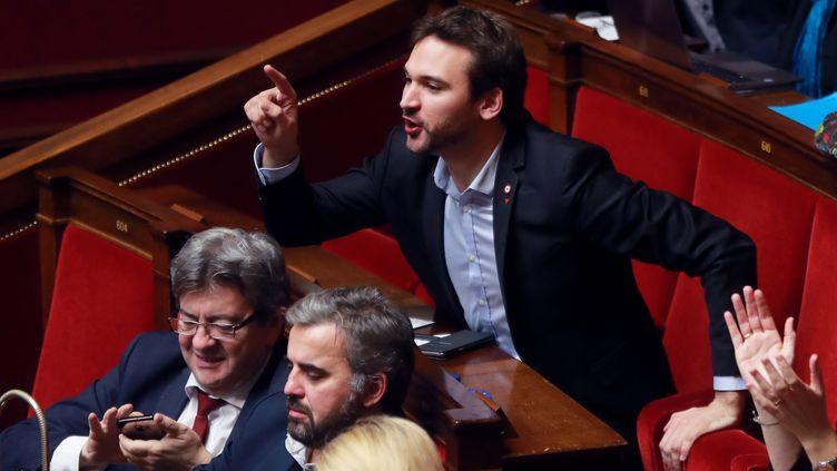 Le député Ugo Bernalicis, lors d'une session de questions au gouvernement le 6 février 2018. (JACQUES DEMARTHON / AFP)