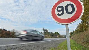 Une voiture sur la route départementale du Faouët (Côtes d'Armor), le 28 novembre 2013. (MAXPPP)