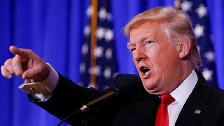 Donald Trump pendant sa première conférence de presse comme président élu à New York, le 11 janvier 2017. (REUTERS  - Shannon Stapleton)
