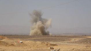 Une explosion dans la région de Marib (Yémen), le 14 février 2021. (AFP)