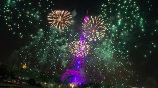 Feu d'artifice devant la Tour Eiffel, à Paris, le 14 juillet 2015 (FRANCOIS PAULETTO / CITIZENSIDE.COM / AFP)