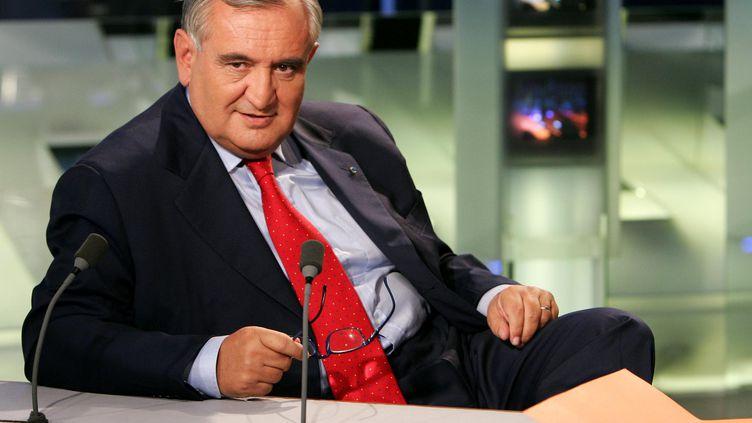 Jean-Pierre Raffarin, alors Premier ministre de Jacques Chirac, sur le plateau de TF1, le 16 juin 2004. (JACK GUEZ / AFP)
