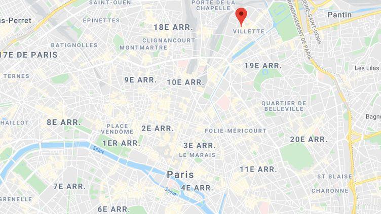L'agression s'est produite dans un immeuble, rue Archereau dans le 19e arrondissement de Paris, d'après le jeune homme. (GOOGLE MAPS)
