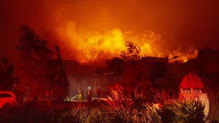 """Les pompiers combattent le """"Kincade Fire"""" dans le vignoble de Soda Rock, à Healdsburg (Californie, Etats-Unis), le 27 octobre 2019. (JOSH EDELSON / AFP)"""