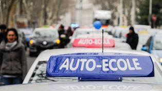 Un véhicule auto-école lors d'une manifestation des inspecteurs du permis de conduire à Lyon (Rhône), le 29 février 2016. (FRANCK CHAPOLARD / CITIZENSIDE / AFP)