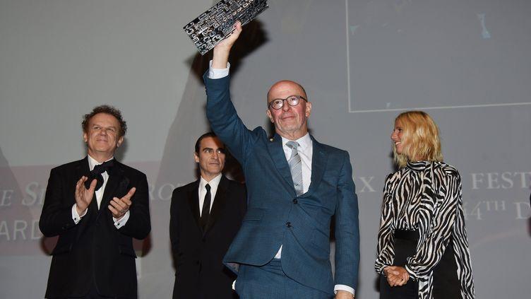 """Le réalisateur Jacques Audiard, lors de la présentation de son western """"Les Frères Sisters"""", le 4 septembre 2018 au Festival du cinéma américain de Deauville (Calvados). (JACQUES BENAROCH/SIPA)"""
