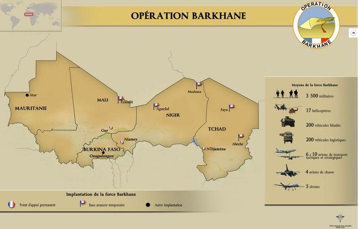 Implantation de la force militaire française Barkhane au Sahel (Carte de l'Etat-Major des Armées (mars 2016))