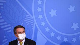Le président Brésilien Jair Bolsonaro, lors d'une cérémonie à Brazilia (Brésil), le 29 juin 2021. (EVARISTO SA / AFP)