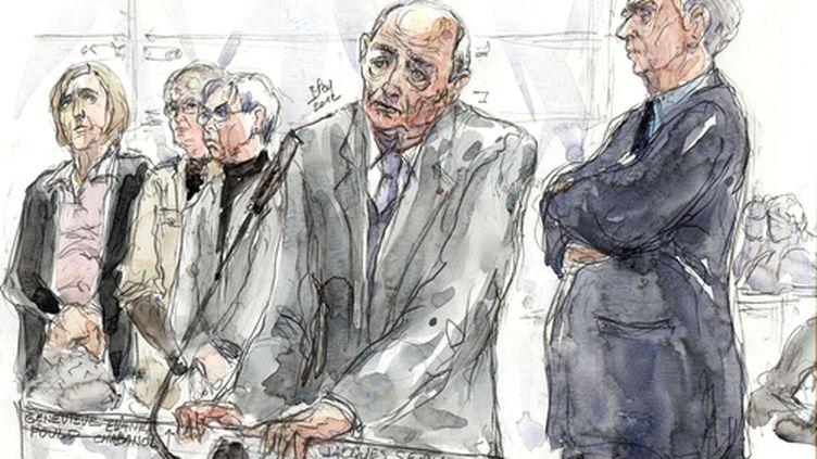 Jacques Servier au premier jour de son procès devant le tribunal correctionnel de Nanterre (Hauts-de-Seine), le 14 mai 2012. (BENOIT PEYRUCQ / AFP)