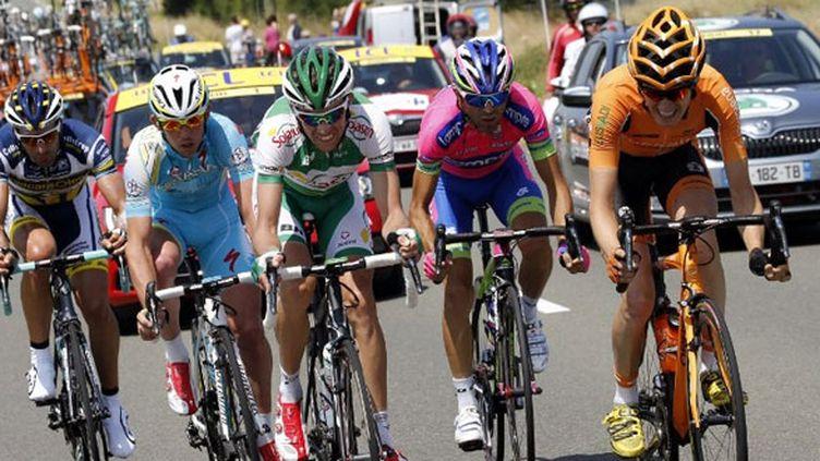 Juan Antonio Flecha (Vacansoleil), Francesco Gavazzi (Astana), Anthony Delaplace (Sojasun), Manuele Mori (Lampre),  et Romain Sicard (Euskaltel).
