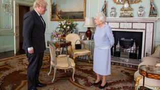 Le Premier ministre britannique, Boris Johnson, rencontre la reine Elizabeth II pour leur audience hebdomadaire à Buckingham Palace, à Londres, le 23 juin 2021. (DOMINIC LIPINSKI / POOL / AFP)