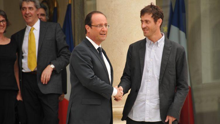 François Hollande a recu, vendredi 1er juin 2012, le journalisteRoméo Langlois, libéré par les Farc. (CITIZENSIDE.COM / CITIZENSIDE.COM)
