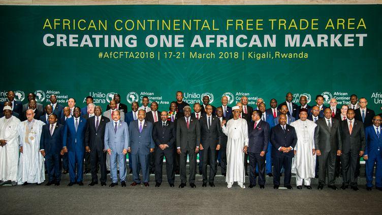 Les dirigeants des pays signataires,mercredi 21 mars 2018, à Kigali (Rwanda). (AFP)