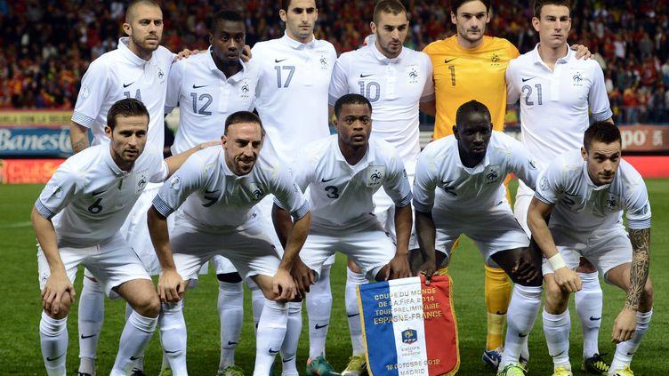 L'équipe de France de football, le 16 octobre 2012 à Madrid avant son match contre l'Espagne. (FRANCK FIFE / AFP)