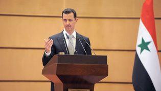 Le président syrien Bachar Al-Assad lors d'une conférence de presse à Damas (Syrie), le 10 janvier 2012. (- / SANA)