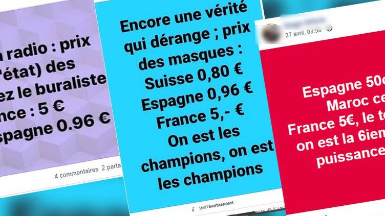 Des publications très partagées sur les réseaux sociaux prétendent que les prix des masques sont plus élevés en France que dans d'autres pays, comme l'Espagne ou la Suisse. (COPIE D'ECRAN FACEBOOK)