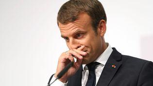 Emmanuel Macron, le 23 août 2017, àSalzbourg (Autriche). (FRANZ NEUMAYR / AFP)