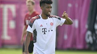 Kingsley Coman, à l'entrainement avec le Bayern Munich le 13 septembre. (FRANK HOERMANN / SVEN SIMON / dpa Picture-Alliance via AFP)