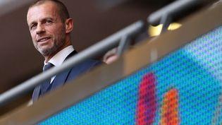 Aleksander Ceferin, lors de la demi-finale de l'Euro 2021 à Wembley, entre l'Angleterre et le Danemark. (CATHERINE IVILL / POOL / AFP)