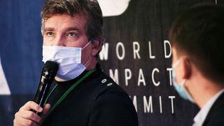 L'ancien ministre de l'Economie Arnaud Montebourg lors d'une conférence durant le World Impact Summit à Bordeaux (Gironde) le 29 octobre 2020. (QUENTIN SAISON / HANS LUCAS / AFP)