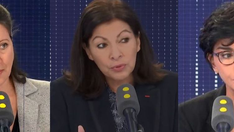 Agnès Buzyn (G), Anne Hidalgo (C), Rachida Dati (D). (FRANCEINFO / RADIOFRANCE)