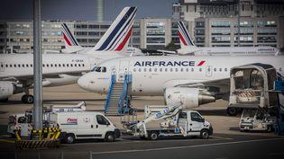 Des avions de la compagnie Air France sur le tarmac de l'aéroport de Paris-Charles de Gaulle, le 23 septembre 2014. (MAXPPP)