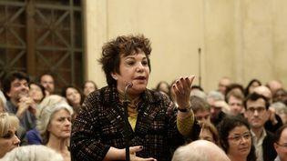 La sénatrice EELV Esther Benbassa, le 4 avril 2015 lors d'un colloque de son parti organisé à l'Assemblée nationale, à Paris. (MAXPPP)