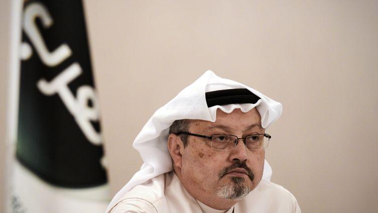 JamalKhashoggi, le 15 décembre 2014, lors d'une conférence à Manama (Bahreïn). (MOHAMMED AL-SHAIKH / AFP)