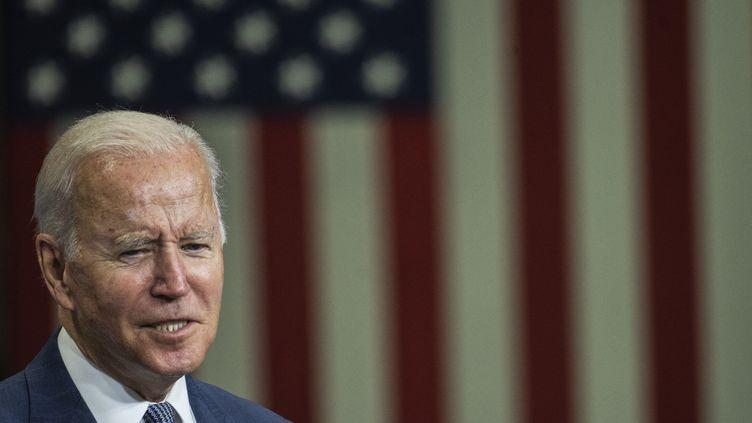 Le président américain Joe Biden, le 25 octobre 2021 dans le New-Jersey (Etats-Unis). (ANDREW CABALLERO-REYNOLDS / AFP)