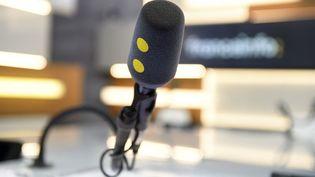 Un des micros du studio des Informés de franceinfo. (CHRISTOPHE ABRAMOWITZ / RADIO FRANCE)
