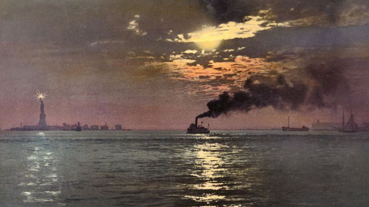 """Anonyme, """"Sunset from the Battery, New York"""", photochrom  (Anonyme, Collection Marc Walter - Editions Taschen)"""