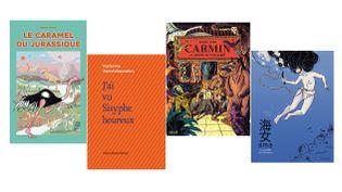 Les premières de couverture des livres primés par les Pépites 2020. (Sarbacane / Bruno Doucey / Seuil Jeunesse / Albin Michel Jeunesse)